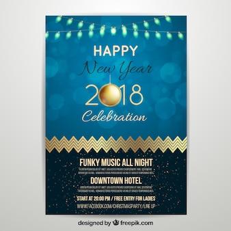 Cartel de fiesta de año nuevo 2018