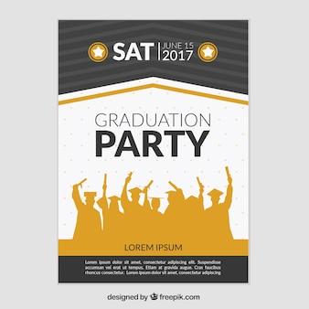 Cartel de fiesta de graduación con siluetas