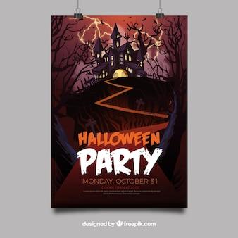 Cartel de fiesta de halloween con castillo