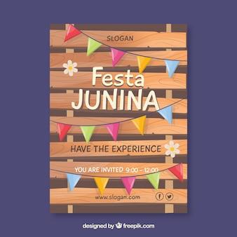 Cartel de invitación de fiesta junina con banderines de colores