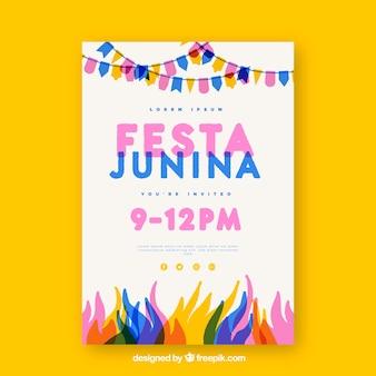 Cartel de invitación de fiesta junina con elementos coloridos