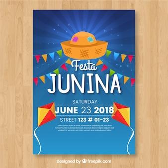 Cartel de invitación de fiesta junina con elementos de fiesta