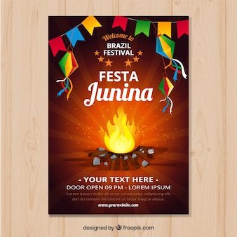Cartel de invitación de fiesta junina con fogata