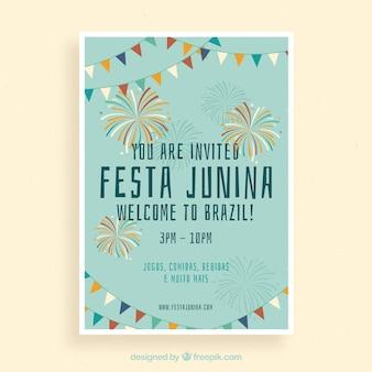 Cartel de invitación de fiesta junina con fuegos artificiales coloridos