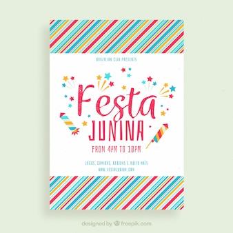 Cartel de invitación de fiesta junina con patrón colorido