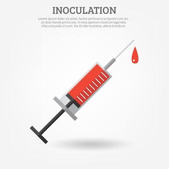 Cartel de jeringa de vacunación