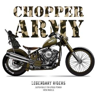 Cartel de la motocicleta del ejército de la vendimia