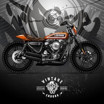Cartel de la motocicleta vintage street tracker