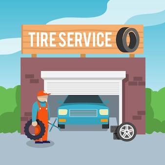 Cartel de servicio de neumáticos