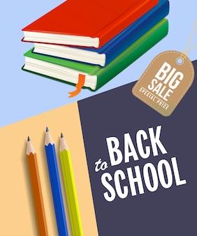Cartel de venta de regreso a la escuela con cuadernos