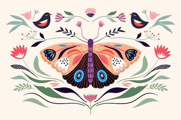 Cartel decorativo composición de banner con elementos florales, mariposas, diferentes flores y plantas.