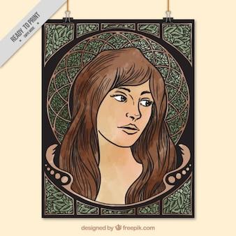Cartel decorativo de mujer dibujada a mano en estilo art nouveau