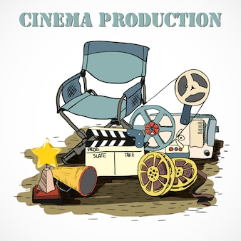 Cartel decorativo de producción de cine.