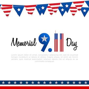 Cartel del día conmemorativo 911 con bandera estadounidense