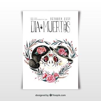 Cartel del día de muertos con calaveras besándose
