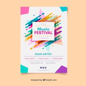 Cartel del festival de música colorido