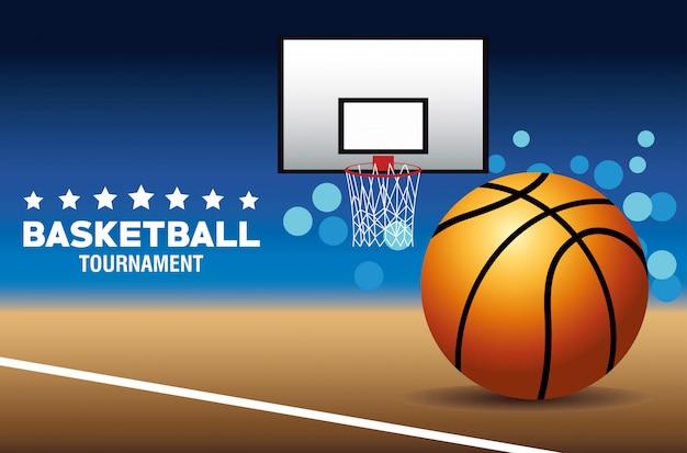 Cartel de deporte de baloncesto con pelota y canasta en la cancha
