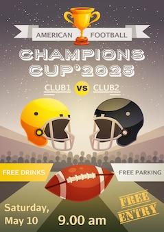 Cartel del deporte del fútbol americano