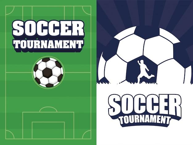 Cartel de deporte de fútbol soccer con campamento y globo