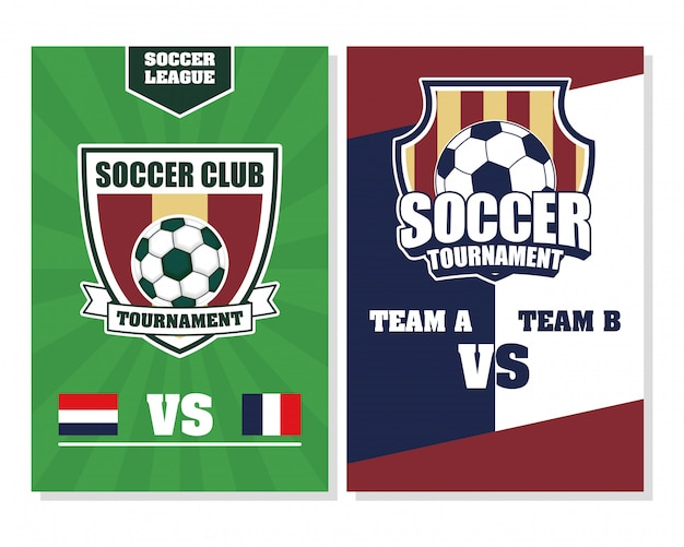 Cartel de deporte de fútbol soccer con globos en escudos