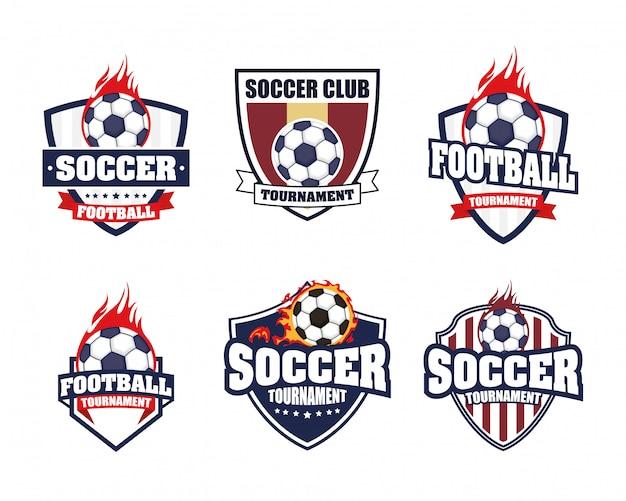 Cartel de deporte de fútbol soccer con set emblemas iconos