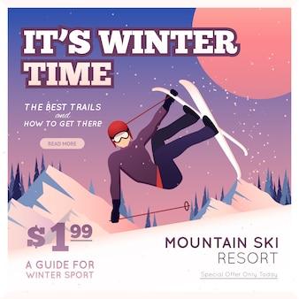 Cartel de deporte de invierno