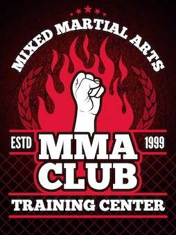 Cartel del deporte de mma mezclando el concepto de lucha