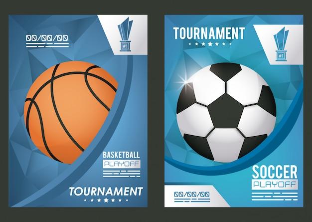 Cartel deportivo de baloncesto y fútbol con globos