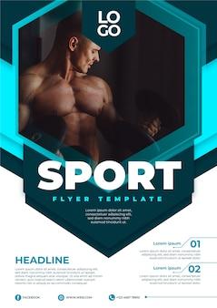 Cartel deportivo con foto de hombre trabajando