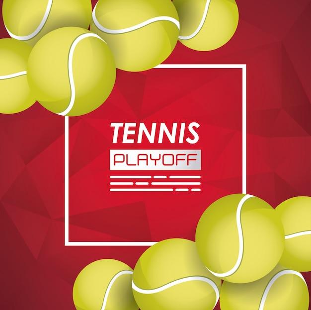 Cartel deportivo de tenis con pelotas