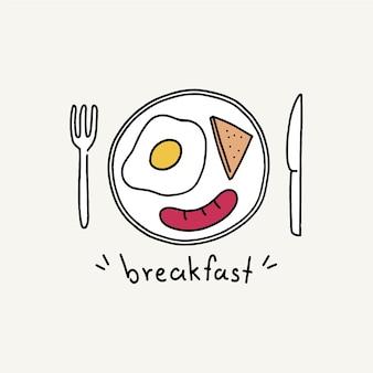 Cartel de desayuno de buenos días, estilo de arte lineal dibujado a mano.