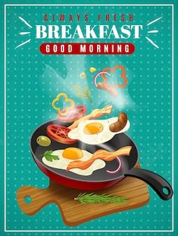 Cartel de desayuno fresco