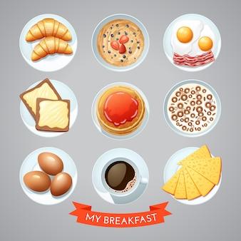 Cartel con desayuno set