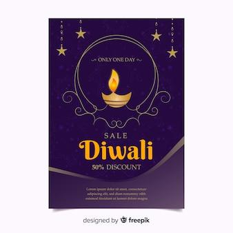Cartel de descuento de diwali ornamental
