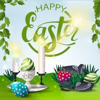 Cartel con deseos de feliz pascua con huevos de pascua y velas.