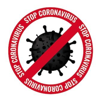 Cartel detener coronavirus con texto