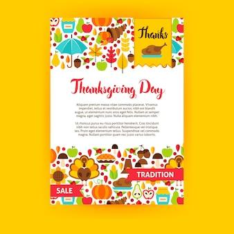 Cartel del día de acción de gracias. ilustración de vector de identidad de marca. concepto de temporada de otoño.
