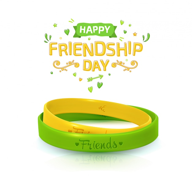 Cartel del día de la amistad con dos pulseras para los mejores amigos.