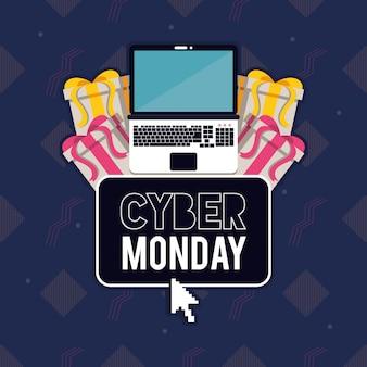 Cartel del día del ciber lunes con laptop