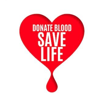 Cartel del día del donante de sangre con corazón y gota de sangre