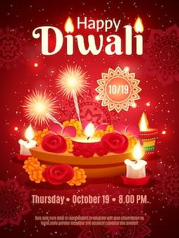 Cartel del día de fiesta de diwali