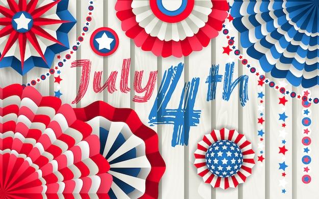 Cartel del día de la independencia con abanicos de papel colgando.