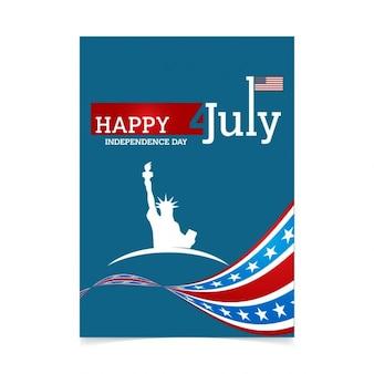 Cartel del día de la independencia con bandera y estatua de la libertad