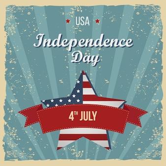 Cartel del día de la independencia de estilo vintage. tarjeta de felicitación. invitación a fiesta de letras a mano. ilustración de tipografía vintage con estrella y rayas. patrones retro para carteles, flayers y diseños de banner.