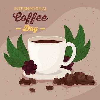Cartel del día internacional del café, 1 de octubre, con diseño de ilustración de taza y granos de café