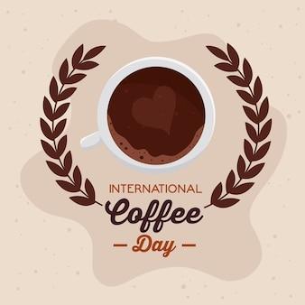 Cartel del día internacional del café, 1 de octubre, con vista aérea de la taza de café y corona de hojas, diseño de ilustraciones