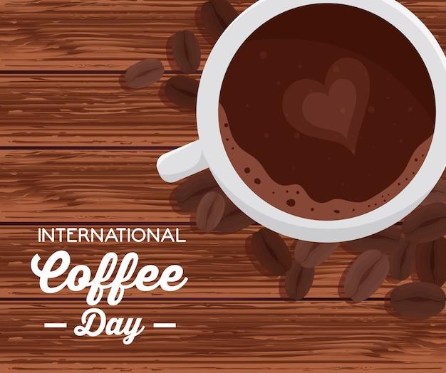 Cartel del día internacional del café, 1 de octubre, con vista aérea de la taza de café en diseño de ilustración de madera