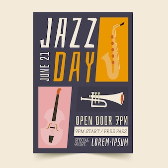 Cartel del día internacional del jazz dibujado a mano