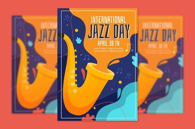 Cartel del día internacional del jazz de diseño plano