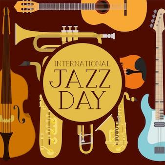 Cartel del día internacional del jazz con instrumentos